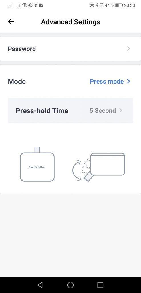 SwitchBot Press Mode